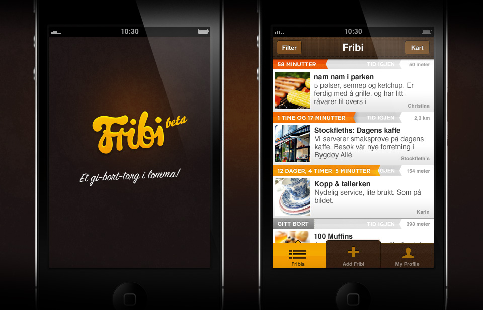 Fribi App front screen and item screen